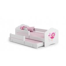Pat Pentru Copii Dublu Maija Cu Bariera De Protectie Si Saltele 160x80/145x80 Cm Alb Model 04