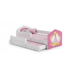 Pat Pentru Copii Dublu Maija Cu Bariera De Protectie Si Saltele 160x80/145x80 Cm Alb Model 11