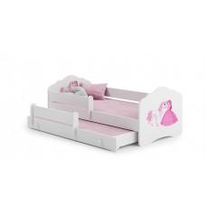Pat Pentru Copii Dublu Maija Cu Bariera De Protectie Si Saltele 160x80/145x80 Cm Alb Model 05