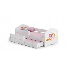 Pat Pentru Copii Dublu Maija Cu Bariera De Protectie Si Saltele 140x70/125x80 Cm Alb Model 07