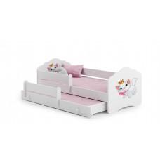 Pat Pentru Copii Dublu Maija Cu Bariera De Protectie Si Saltele 160x80/145x80 Cm Alb Model 08