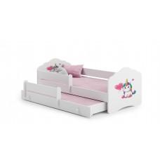 Pat Pentru Copii Dublu Maija Cu Bariera De Protectie Si Saltele 160x80/145x80 Cm Alb Model 01