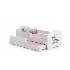 Pat Pentru Copii Dublu Maija Cu Bariera De Protectie Si Saltele 160x80/145x80 Cm Alb Model 02