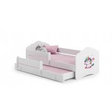 Pat Pentru Copii Dublu Maija Cu Bariera De Protectie Si Saltele 160x80/145x80 Cm Alb Model 03