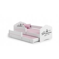 Pat Pentru Copii Dublu Maija Cu Bariera De Protectie Si Saltele 160x80/145x80 Cm Alb Model 12