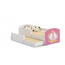 Pat Pentru Copii Marja Dublu Cu Bariere De Protectie Si Saltele 140x70/125x80 Cm Model 11