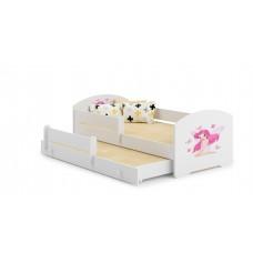 Pat Pentru Copii Marja Dublu Cu Bariere De Protectie Si Saltele 140x70/125x80 Cm Model 06