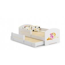 Pat Pentru Copii Marja Dublu Cu Bariere De Protectie Si Saltele 140x70/125x80 Cm Model 07
