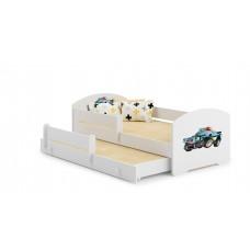 Pat Pentru Copii Marja Dublu Cu Bariere De Protectie Si Saltele 140x70/125x80 Cm Model 15
