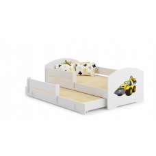 Pat Pentru Copii Marja Dublu Cu Bariere De Protectie Si Saltele 140x70/125x80 Cm Model 18