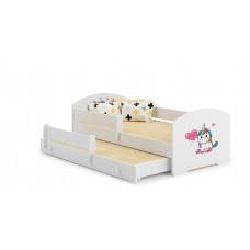 Pat Pentru Copii Marja Dublu Cu Bariere De Protectie Si Saltele 140x70/125x80 Cm Model 01
