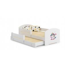 Pat Pentru Copii Marja Dublu Cu Bariere De Protectie Si Saltele 140x70/125x80 Cm Model 03