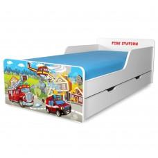 Pat copii Fire Station 2-12 ani cu sertar si saltea cadou