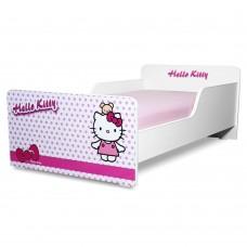 Pat copii  Hello Kitty 2-8 ani cu saltea cadou