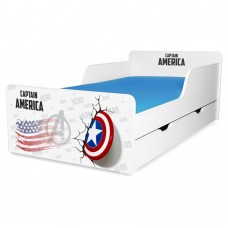 Pat copii Captain America 2-12 ani cu sertar si saltea cadou