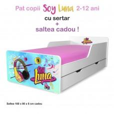 Pat copii Soy Luna 2-12 ani cu sertar si saltea cadou