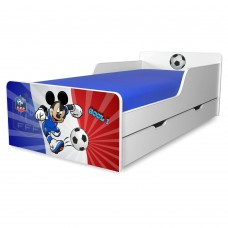 Pat copii Fotbal Franta 2-12 ani cu sertar si saltea cadou