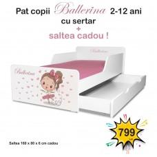 Pat copii Balerina 2-12 ani cu sertar si saltea cadou