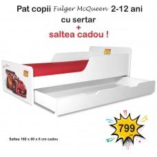 Pat copii Fulger McQueen 2-12 ani cu sertar si saltea cadou
