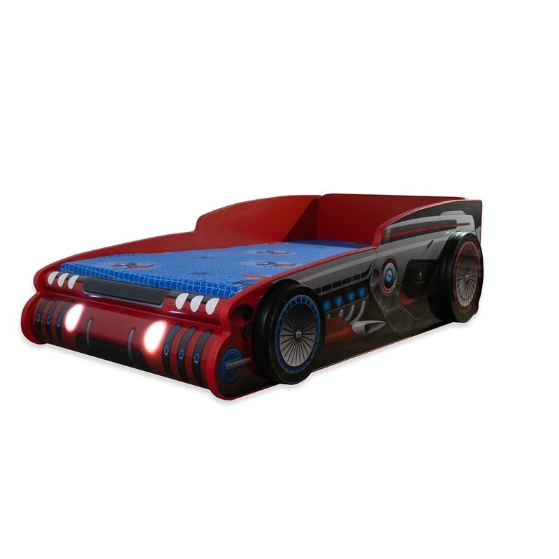 Pat copii masina Robocar cu lumini 140x70 Cm cu saltea