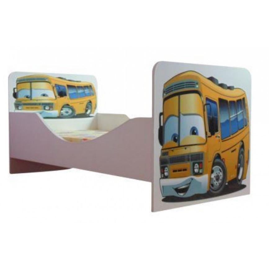 Pat copii Junior Bus 140x70 Cm cu saltea