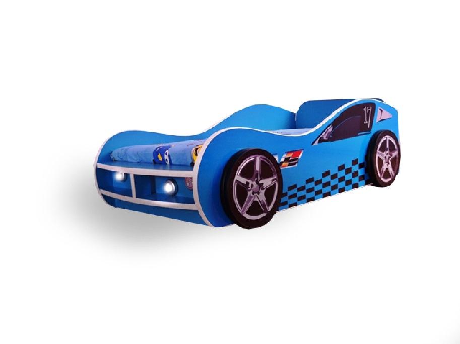 Pat copii masina Blue GT 140x70 Cm cu lumini si cu saltea