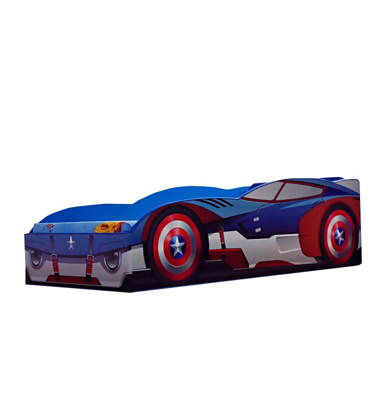 Pat copii masina Captain America 140x70 Cm cu saltea