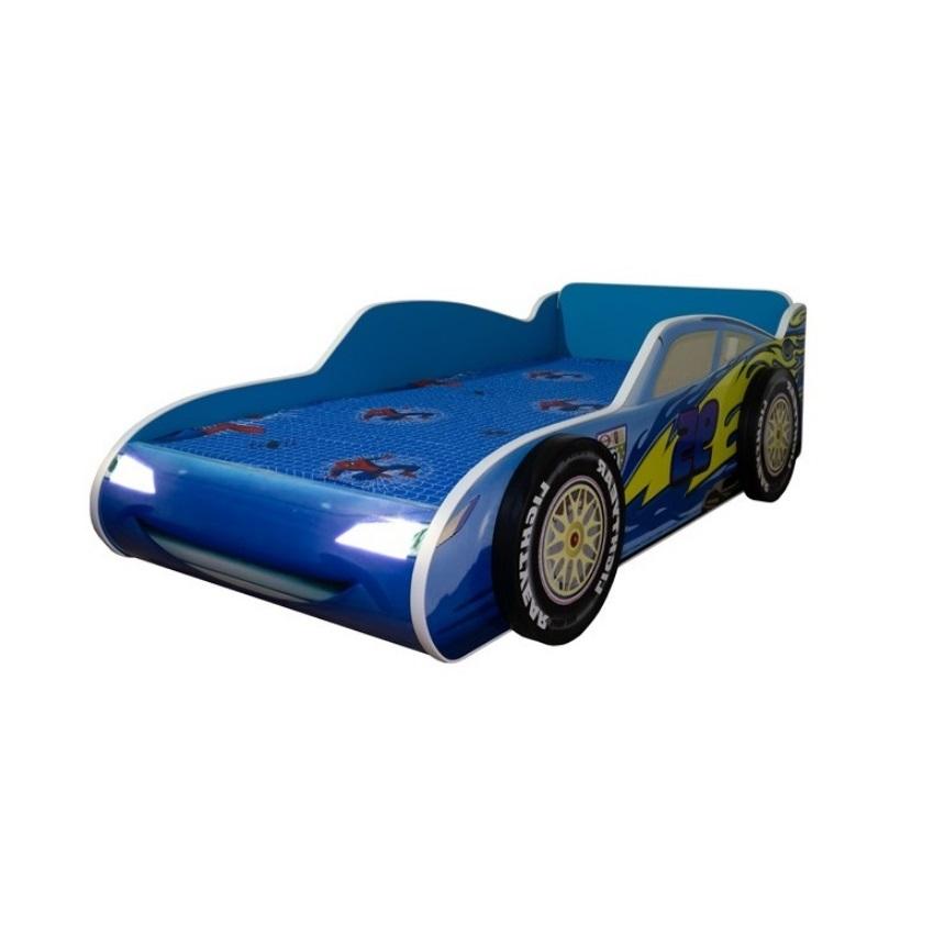 Pat copii masina Fulger McQueen albastru cu lumini 140x70 Cm cu saltea