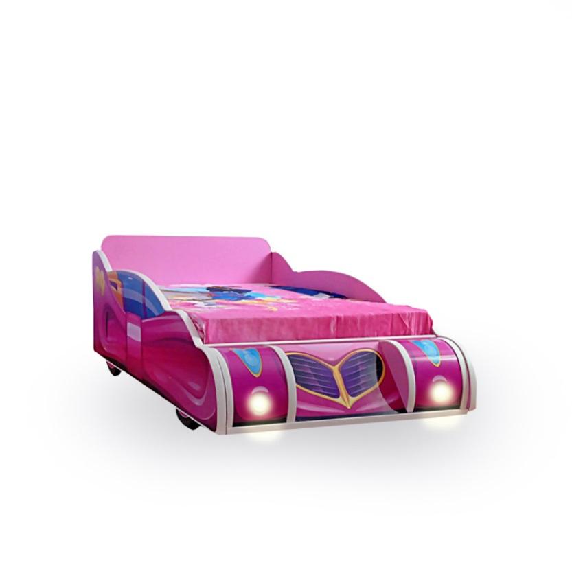 Pat copii Minnie Mouse Pink cu lumini 140x70 Cm cu saltea