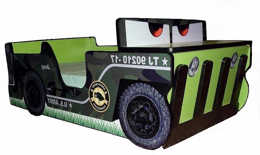 Pat copii masina Jeep cu spatiu depozitare 140x70 Cm cu saltea