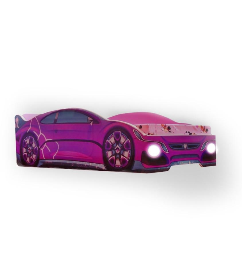 Pat copii Pink Princess cu lumini 140x70 Cm cu saltea