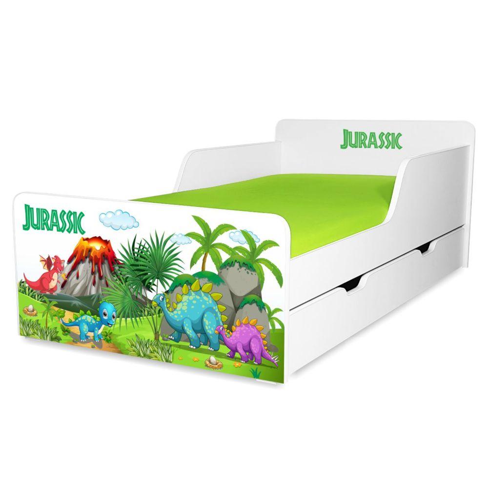 Pat copii Jurassic 2-12 ani cu sertar si saltea cadou