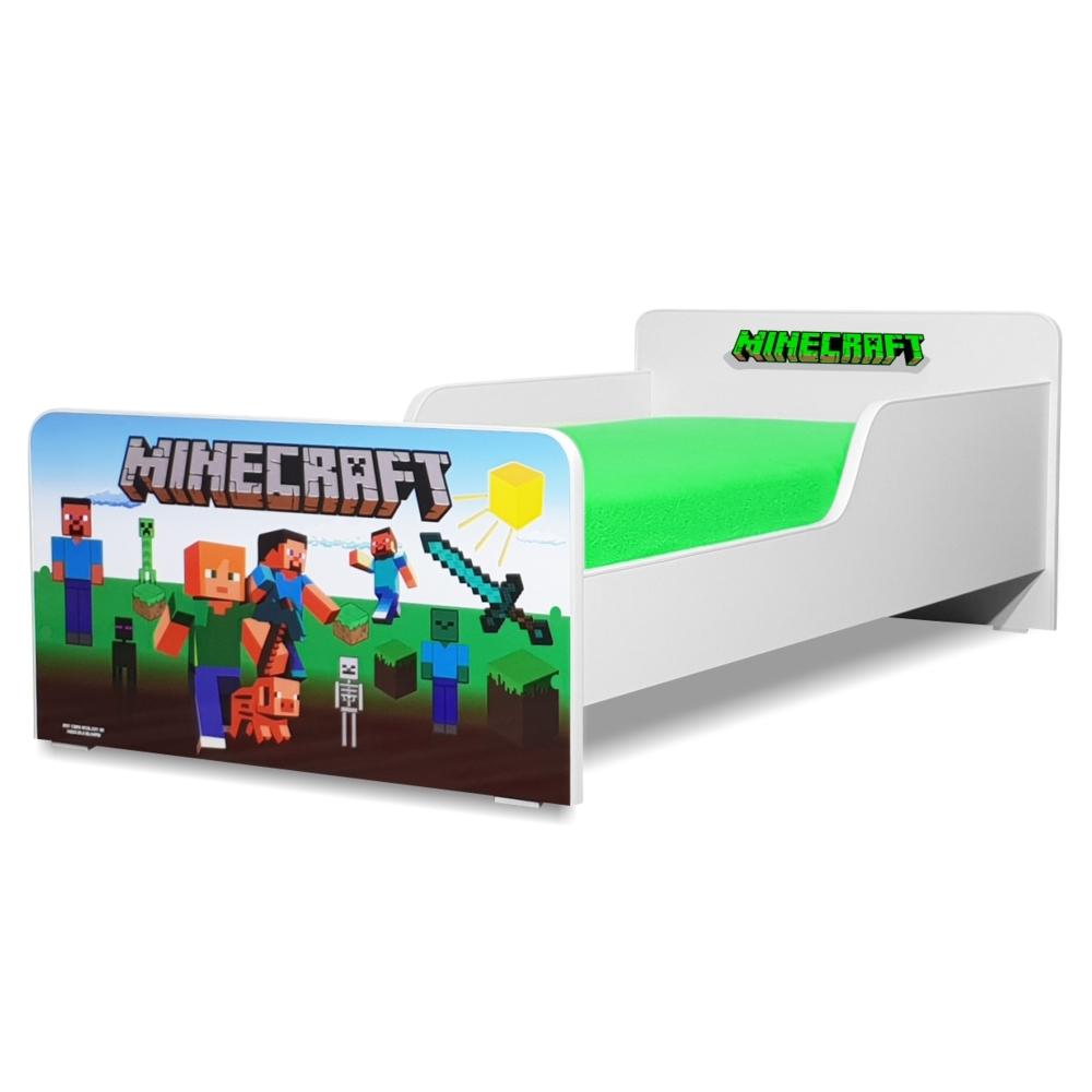 Pat copii Minecraft 2-8 ani cu saltea cadou