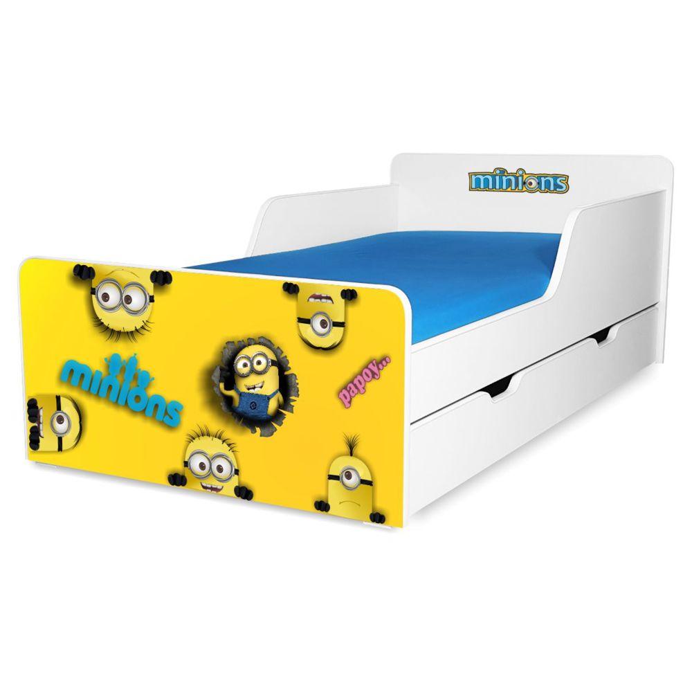 Pat copii Minions 2-12 ani cu sertar si saltea cadou